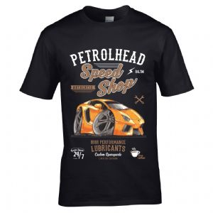 Premium Koolart Petrolhead Speed Shop Motif And Orange Aventador Supercar Car Image Mens T-shirt Top